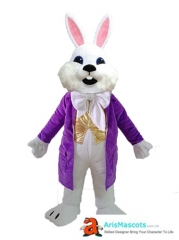 Adult Size Fancy White Bunny Rabbit mascot costume for Easter Holiday Mascots Design Company Funny Mascot Costumes