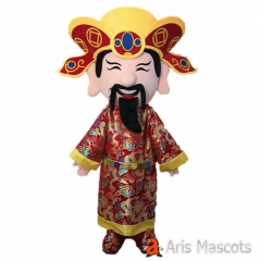 God of Fortune Mascot Costume for New Year Holiday Mascots God of Wealth Adult Costume for Entertainment