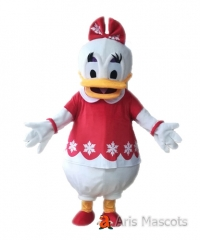 Adult Fancy Daisy Duck Mascot Costume with Christmas Outfit Cartoon Mascot Character Outfits for Event Party Buy Quality Mascot Costumes