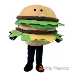 Adult Full Body Hamburger Costume Mascot Food Burgers Fancy Dress for Marketing & Event Party
