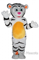Lovely White Tiger Mascot Costume with Yellow Belly, Adult Tiger Fancy Dress