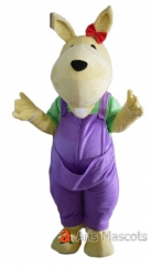 Full Mascot Costume Animal Suit Kangaroo Fancy Dress for Adults , Kangaroo Outfit with Purple Overall